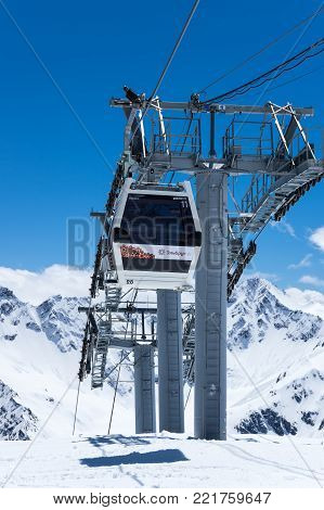 TERSKOL, KABARDINO-BALKARIA, RUSSIA - MAY 21, 2016: Construction of a new cableway on the slope of mount Elbrus, Kabardino-Balkaria, Russia