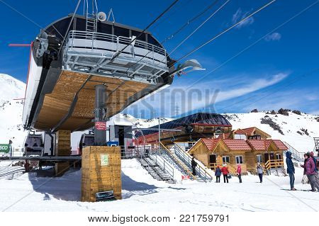 TERSKOL, KABARDINO-BALKARIA, RUSSIA - MAY 21, 2016: Construction of a new cableway station on the slope of mount Elbrus, Kabardino-Balkaria, Russia