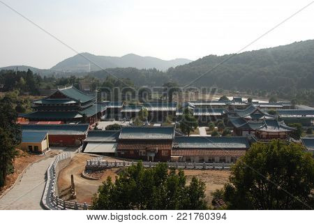 A view from the top of Nan Shaolin Monastery complex in Fujian province of southern China