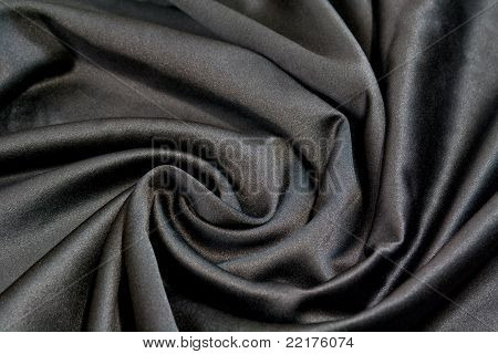 Soft Black Satin Fabric Swirled
