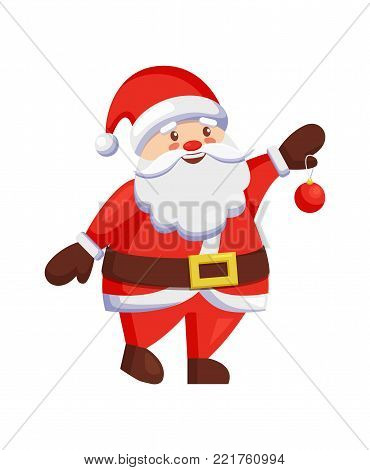 Santa Claus holds winter holiday ball in hands. Christmas Father and winter holiday symbol icon vector illustrations isolated on white background