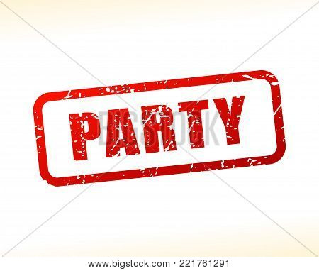 Illustration of party red text stamp concept