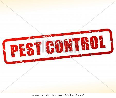 Illustration of pest control red text stamp