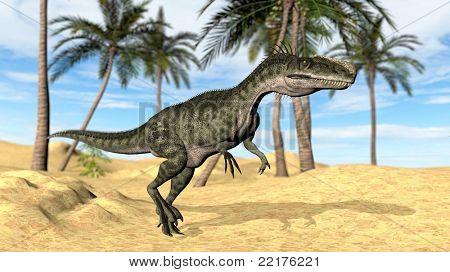 monolophosaurus in desert poster