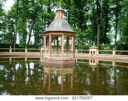Saint Peterburg, Russia - JUNE 12, 2013: Little house on the water in park