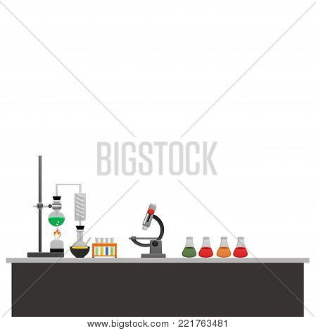 Education and science concept banner on white background. Chemistry lab and science equipment. Pharmacy and chemistry theme. Test glass flask with solution in research laboratory.