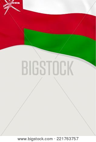 Leaflet design with flag of Oman. Vector template.