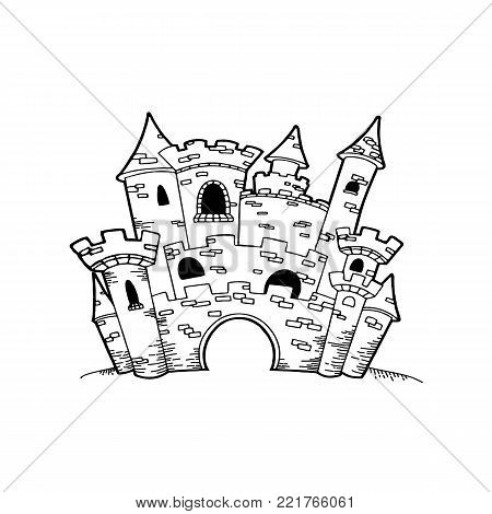 Castle icon vector linear design isolated on white background. Park logo template, element for amusement park, line icon object.
