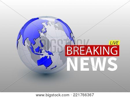 Breaking news, world news backgorund with planet, TV news design. Vector.