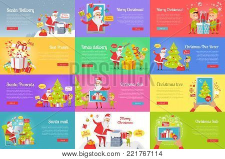 Collection of christmas vector illustration with Santa Claus reading letters, buying presents via the Internet and sending them. Colourful poster of pictures with Santa and gnome decorating xmas tree