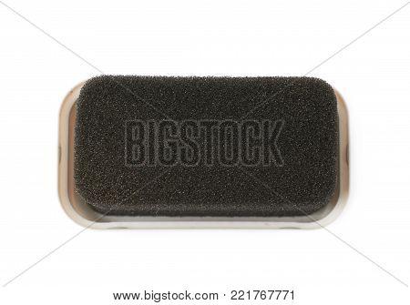 Black shoe shine sponge isolated over the white background