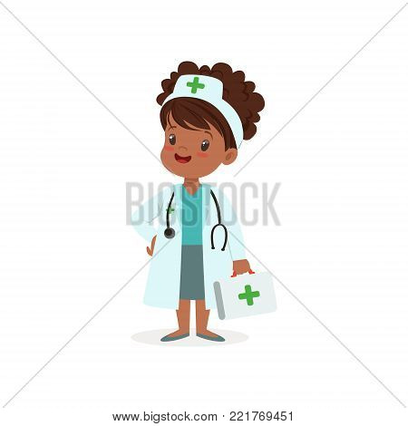 Girl character think of joining medical profession. Helping people. Kid in doctor occupation white coat, hat and medical box in hand. Future aspirations and dream profession. Isolated flat vector.
