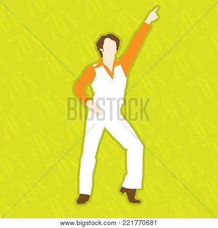 Retro Disco Dancer - dancing man in 1970 style
