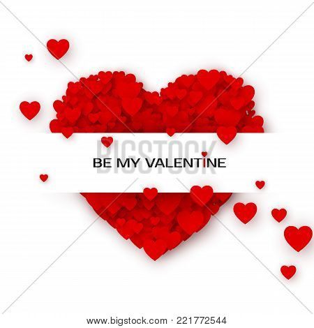 Valentines greeting card with Hearts. By my Valentine invitation template. Concept of a greeting card for St. Valentine's Day. Vector illustration isolated on white background