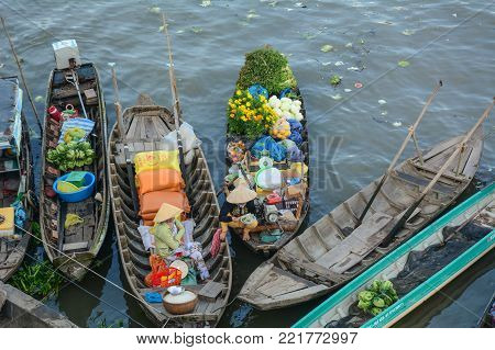 Soc Trang, Vietnam - Feb 2, 2016. Wooden boats on Mekong River in Soc Trang, Vietnam. Mekong is the world 12th-longest river and the 7th-longest in Asia.