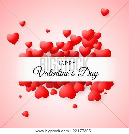 Valentine's day greeting card. Confetti red heart on pink background with frame and lettering Happy Valentines day. For design poster, wedding invitation, mothers day, valentines day, card. Vector