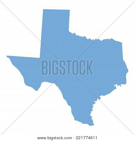 Map of Texas State on a white background, Vector illustration