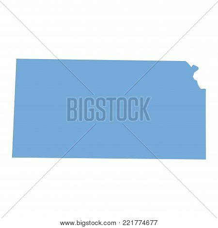 Map of Kansas State on a white background, Vector illustration