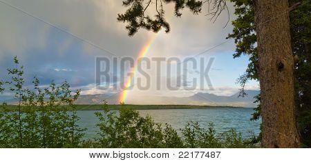 Rainbow over Lake Laberge, Yukon T, Canada