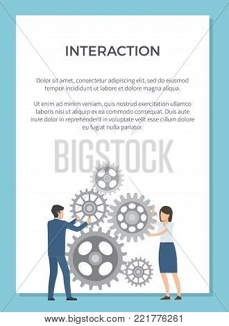 Interaction representation with two coworkers working together on mechanism. Vector illustration with man and woman on white background in blue frame