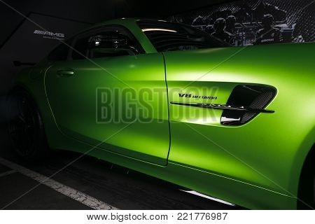 Sankt-Petersburg, Russia, January 12, 2018 : Green Mercedes-Benz AMG GT-R 2018 V8 Bi-turbo exterior details, Side view.