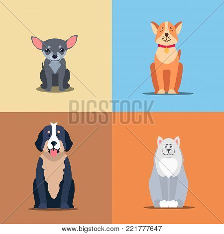 Cute dogs cartoon icons set. Happy doggies sitting with smiling muzzle and hanging out tongue flat vector on colorful background. Lovely purebred pets illustration for vet clinic, breed club or shop ad