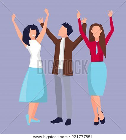 People raising their hands upward, smiling and having fun, partying together on vector illustration isolated on light-purple background