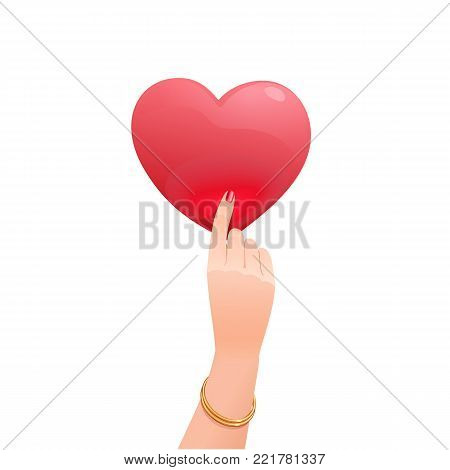 The graceful female hand with a gold bracelet holding upright a Valentine. The red romantic symbol of love in the shape of heart has a warm lively inner glow. Isolated object on a white background.