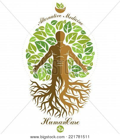 Vector graphic illustration of strong male depicted as continuation of tree and composed with mortar and pestle. Phytotherapy metaphor, healthy lifestyle concept.