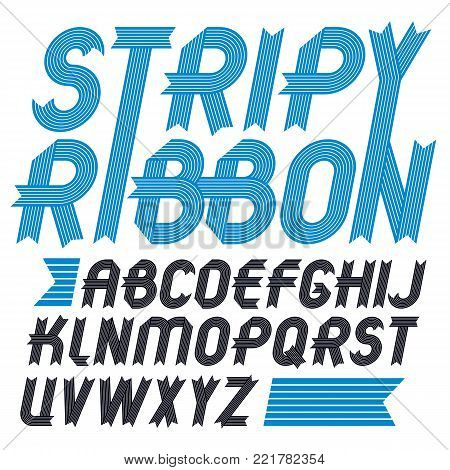 Set of trendy vector capital alphabet letters isolated. Geometric italic bold type font, script from a to z can be used for logo creation. Created using stripy ornate, parallel lines.