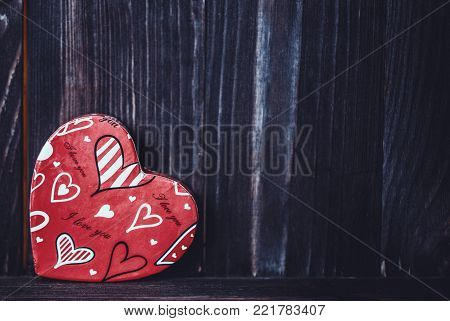 Valentine. Love. Valentine's Day postcard. Love concept for mother's day and valentine's day. Happy Valentine's day hearts on wooden background. Valentine card with space for text