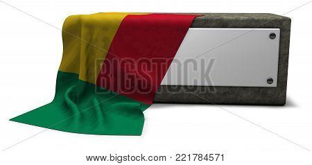 stone socket and flag of benin - 3d rendering