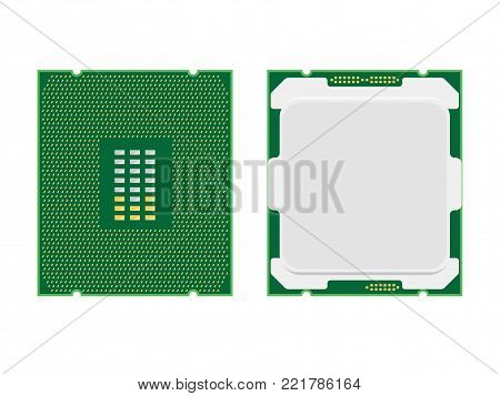 Computer processor isolated on white. CPU microprocessor vector illustration