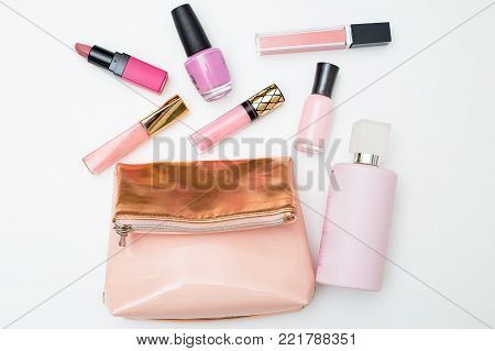 Cosmetics for make-up on a white background. Flat lay