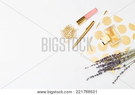 Gold office stock photo and bouquet of lavender. Copy space