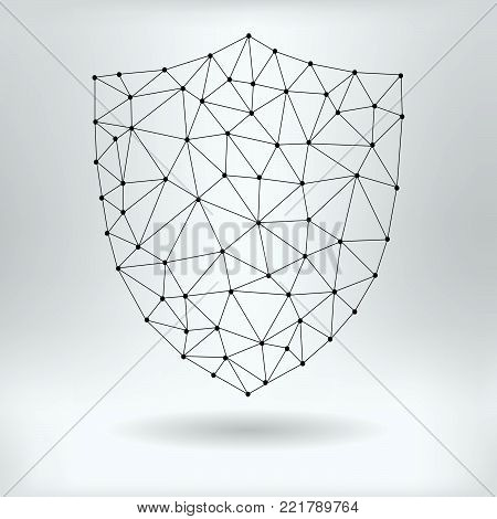 Vector Net Symbol of Shield - Reticulated Design poster