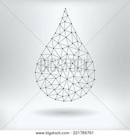 Vector Net Symbol of Water Drop - Reticulated Design