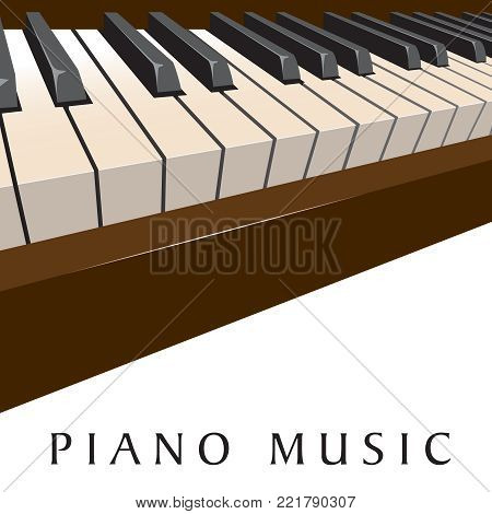 Piano music background with a dramatic keyboard view for print or web