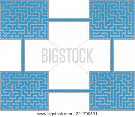 Vector Retro Game Maze for Children - Labyrinth Illustration