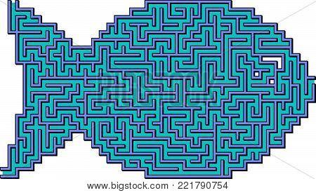Vector Blue Easy Fish Maze for Children