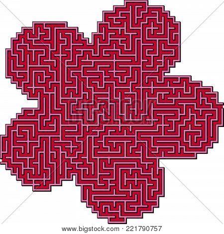 Vector Flower Maze for Children with Five Petal