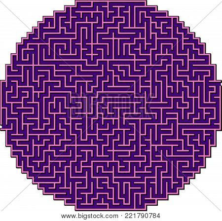 Round Violet Vector Triangle Maze for Children