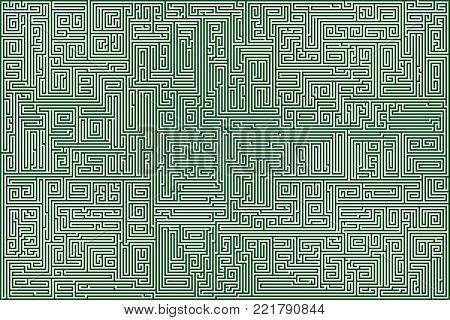 Vector Difficult Vector  Green  Maze for Children