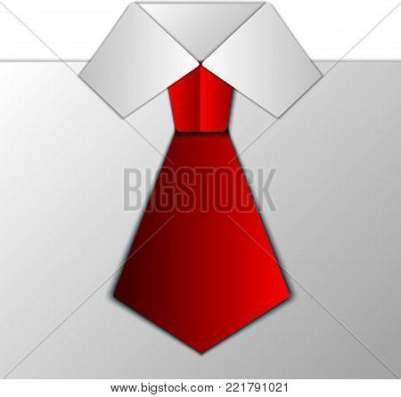 Men's Tie and Shirt Collar   - vector illustration
