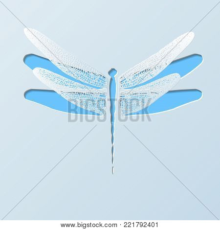 Paper Carved Dragonfly   - Vector Cutout Illustration