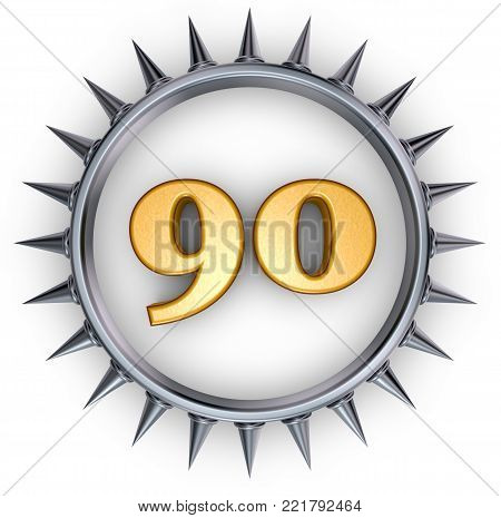 number ninety in ring with spikes on white background - 3d illustration