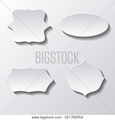 Paper Carved  Labels   - Vector White Illustration