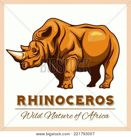Vector Stylized Rhino in Vintage Style for Logotype, Label, Badge, T-shirts and other Design. Vector illuastration.