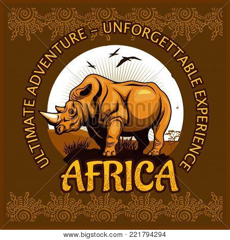 African landscape and rhino - vector illustration emblem and logo.