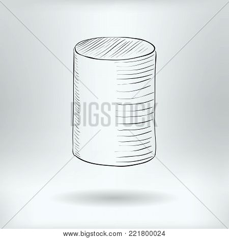 Symbol of Hand Drawn Cylinder   - Cylinder Icon Concept -  Vector Illustration
